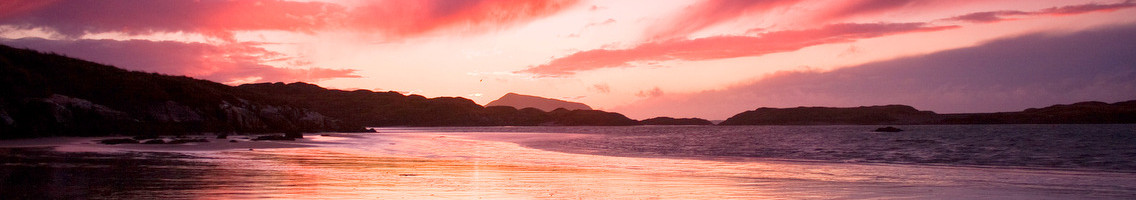 Derrynane Pier Beach during a blood red sunset